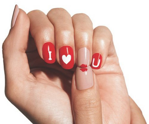 I-Love-U-Nail-Art-Design