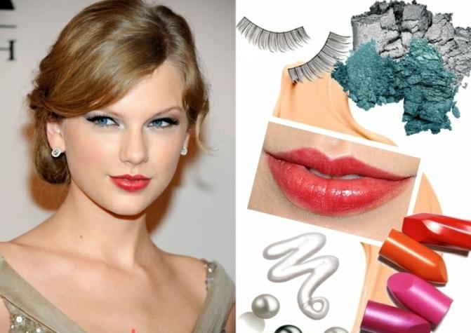 Herbsttyp-Farbpalette-Make-up-olivengruene-Lidschatten-rote-Lippen
