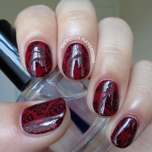 Burgundy-Red-and-Black-Vintage-Wallpaper-Stamping-Nail-Art-630x630