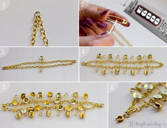 DIY-Gold-Sequins-Safety-Pin-Chain-Bracelet3