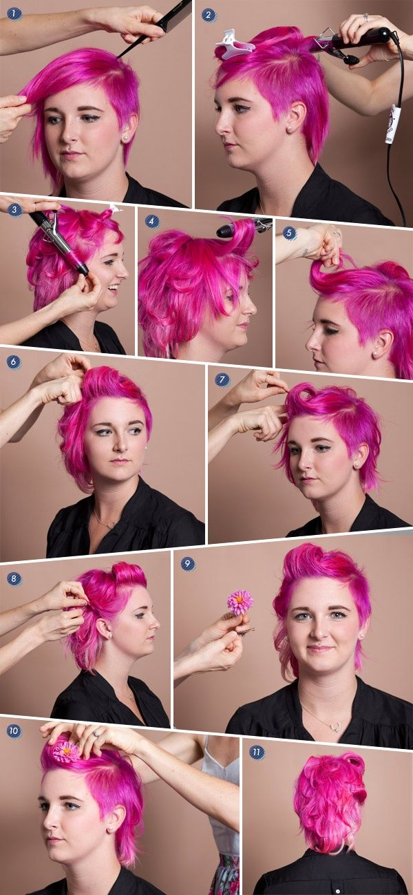 Short-hair-hairstyle-tutorials-Pink-hair-style