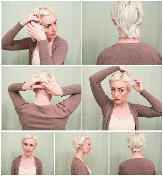 Прическа своими руками на короткие волосы пошагово фото