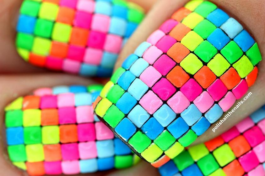 Neon stud rainbow nails 2 over China Glaze
