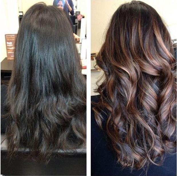 Окрашивание волос балаяж  до и после
