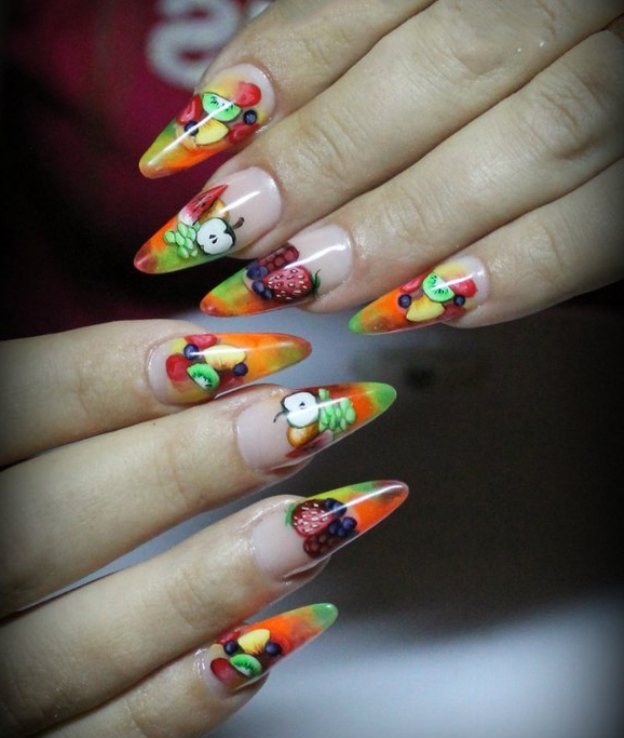 Fruity bouquet nail art