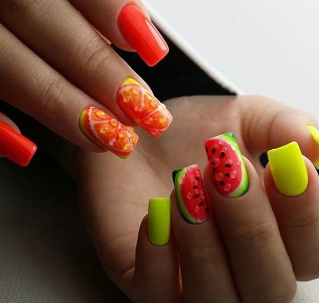 Orange and watermelon nail design