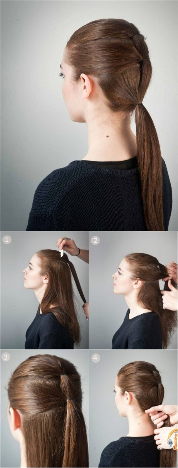 Triple-Ponytail-Hairstyle-for-School-Low-Ponytail-for-Straight-Long-Hair