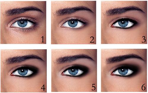 дымчатый макияж для голубых глаз
