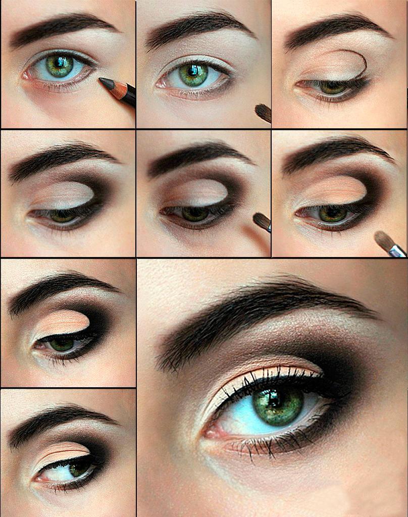 Вечерний макияж для зеленых глаз пошагово