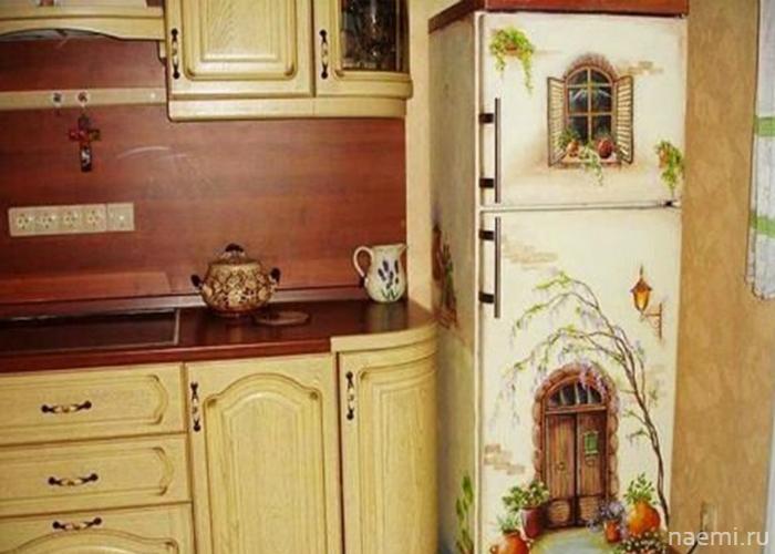 Красивый декупаж для старого холодильника